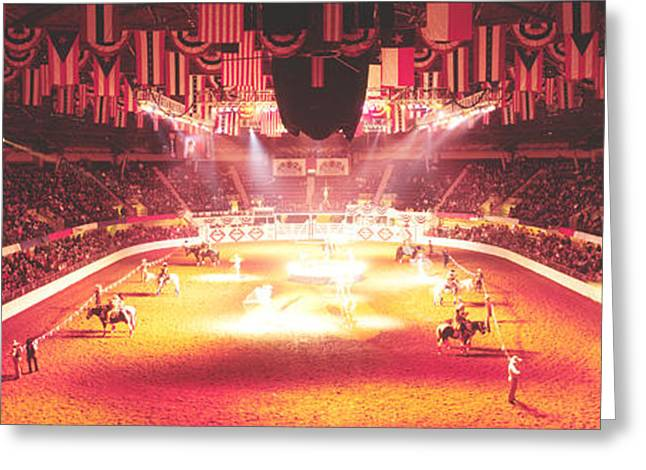 Flag Of Usa Greeting Cards - Group Of People Performing With Horses Greeting Card by Panoramic Images