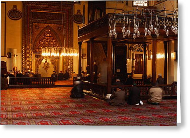 Only Men Greeting Cards - Group Of People Praying In A Mosque Greeting Card by Panoramic Images