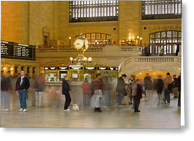 Large Clocks Greeting Cards - Group Of People Walking In A Station Greeting Card by Panoramic Images