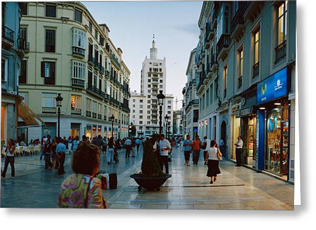 Street Market Greeting Cards - Group Of People Walking On A Street Greeting Card by Panoramic Images