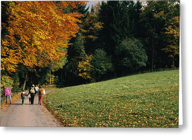 Colors Of Autumn Greeting Cards - Group Of People Walking On A Walkway Greeting Card by Panoramic Images