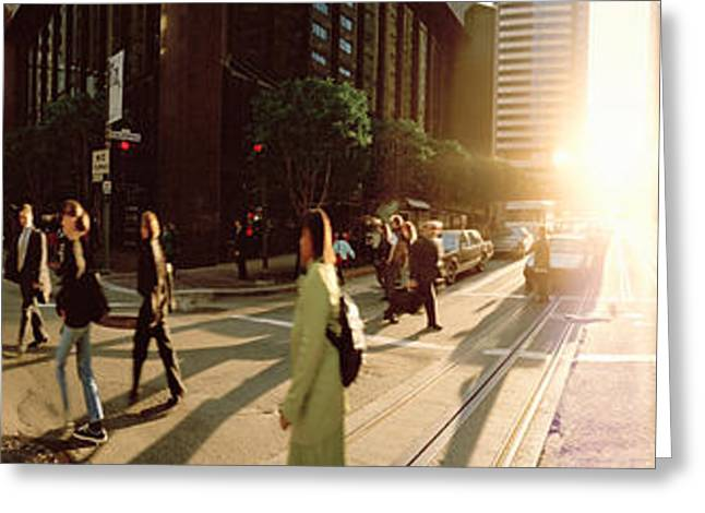 Three-quarter Length Greeting Cards - Group Of People Walking On The Street Greeting Card by Panoramic Images