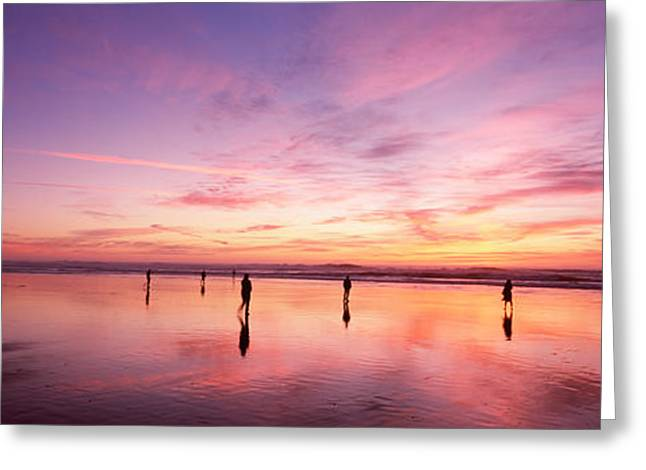 Reflections Of Sky In Water Greeting Cards - Group Of People Watching The Sunset Greeting Card by Panoramic Images