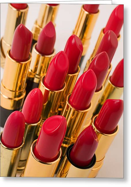 Appearances Greeting Cards - Group of red lipsticks Greeting Card by Garry Gay