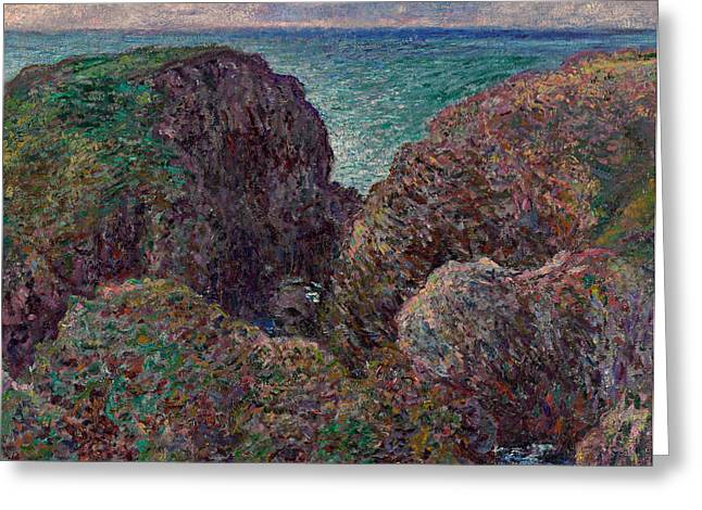 Monet Reproduction Greeting Cards - Group of Rocks at Port Goulphar Greeting Card by Claude Monet