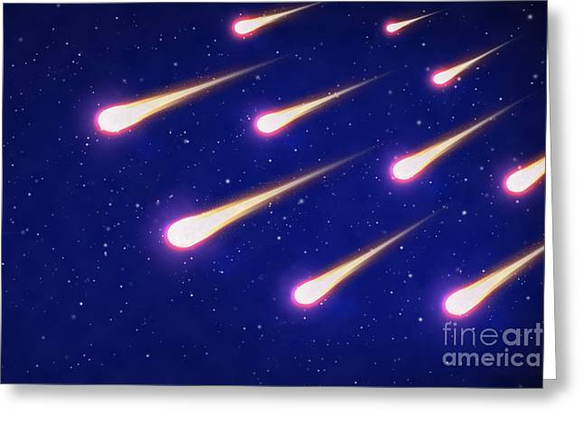 Twinkle Mixed Media Greeting Cards - Group Of Shooting Stars On Blue Sky Greeting Card by M and L Creations