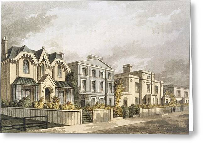 Townhouses Greeting Cards - Group Of Villas In Herne Hill Greeting Card by English School