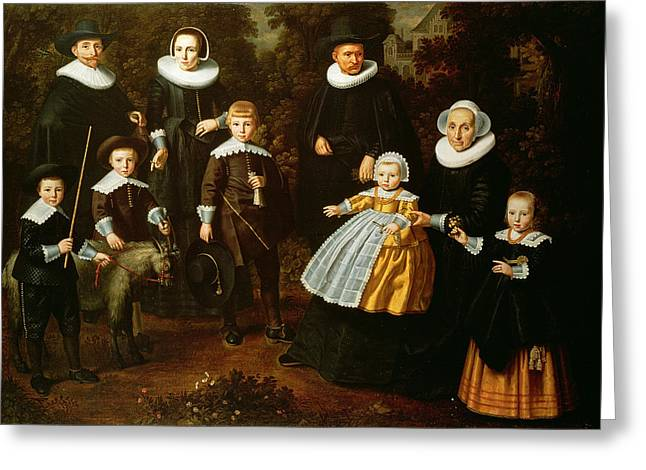 Mascot Greeting Cards - Group Portrait Of Three Generations Of A Family In The Grounds Of A Country House Oil On Canvas Greeting Card by Dirck Santvoort
