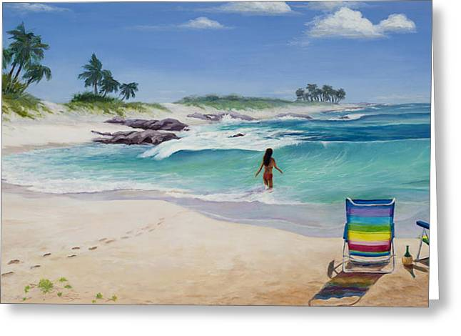Panoramic Ocean Paintings Greeting Cards - Group Therapy Greeting Card by Mary Giacomini