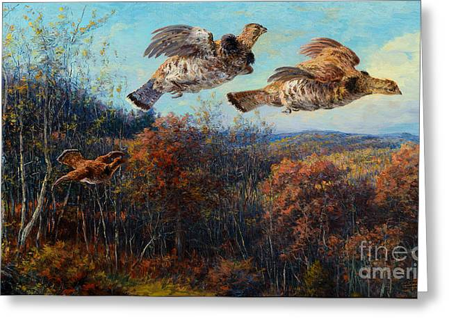 Steer Greeting Cards - Grouse in Flight Greeting Card by Edmund H Osthaus