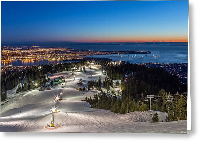 Vancouver Greeting Cards - Grouse Mountain with a view of Vancouver at dusk Greeting Card by Pierre Leclerc Photography