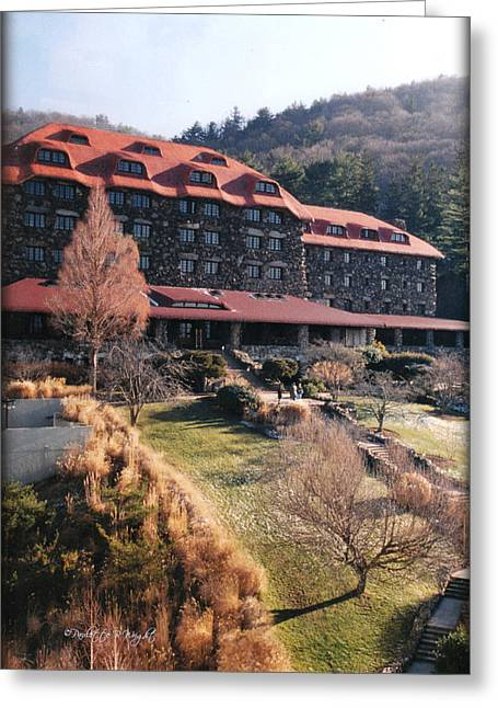 Grove Park Inn Greeting Cards - Grove Park Inn in Early Winter Greeting Card by Paulette B Wright