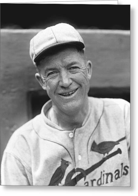 National League Baseball Photographs Greeting Cards - Grover Cleveland Alexander Leaning Smiling Greeting Card by Retro Images Archive
