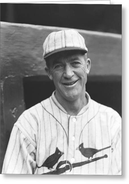 Pitcher Greeting Cards - Grover Cleveland Alexander Smiling Outside Dugout Greeting Card by Retro Images Archive