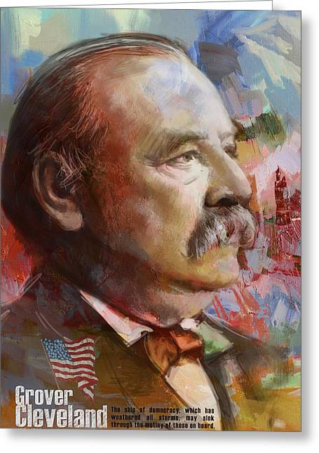 William Henry Harrison Greeting Cards - Grover Cleveland Greeting Card by Corporate Art Task Force