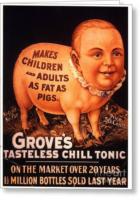 Overweight Greeting Cards - GroveÕs 1890s Usa Humour Groves Tonic Greeting Card by The Advertising Archives