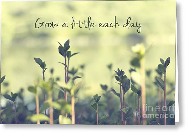 Grow A Little Each Day Inspirational Green Shoots And Leaves Greeting Card by Beverly Claire Kaiya