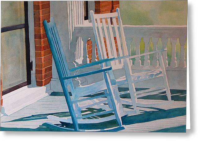 Rocking Chairs Paintings Greeting Cards - Growing Old Together Greeting Card by Terry Holliday