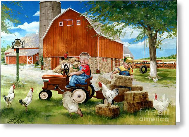 Little Boy Greeting Cards - Growing Up Country Greeting Card by Donald Zolan
