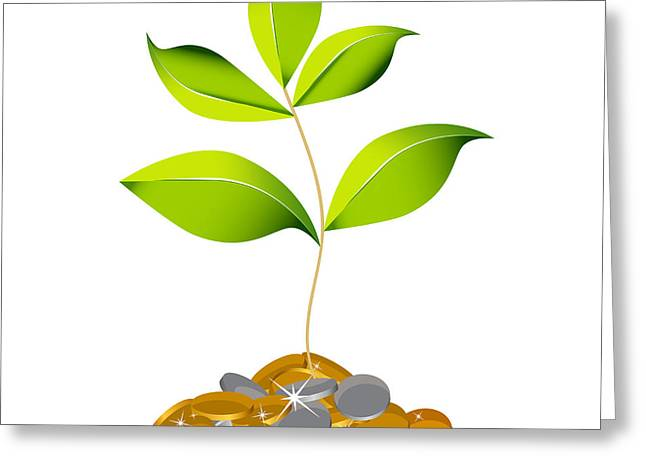 Healthy Greeting Cards - Growing Wealth Plant Greeting Card by John Takai