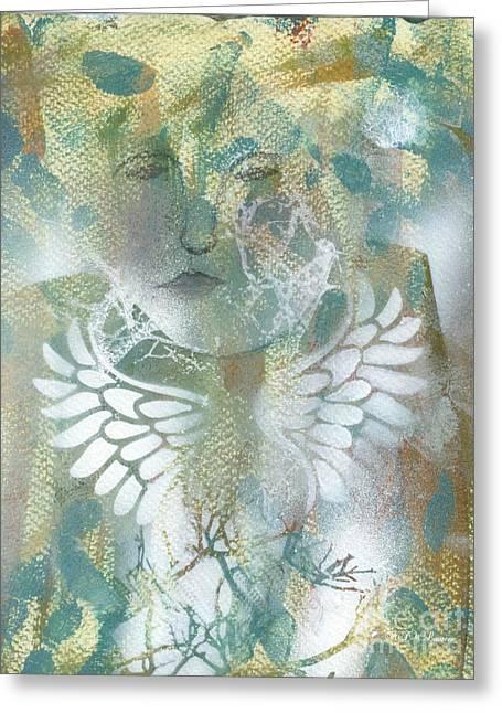 Angel Wings Mixed Media Greeting Cards - Growing Wings Greeting Card by Nancy TeWinkel Lauren