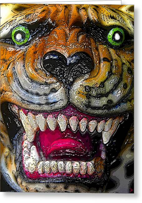 Growling Greeting Cards - Growling Tiger Face Greeting Card by David Lee Thompson