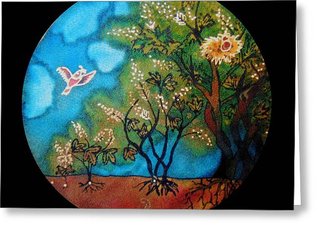 Parable Greeting Cards - Growth of mustard seed Greeting Card by Annelle Woggon