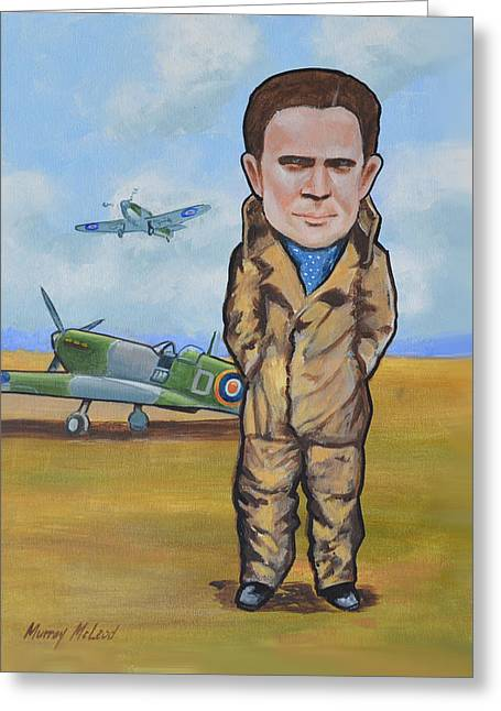 Murray Mcleod Paintings Greeting Cards - Grp. Capt. Douglas Bader Greeting Card by Murray McLeod