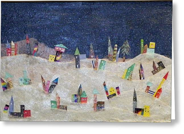 Snowy Night Mixed Media Greeting Cards - Gruberville Greeting Card by Linnie Greenberg