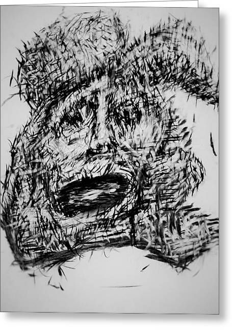 Mark Making Drawings Greeting Cards - Grudge With In Greeting Card by Oguzhan Bozdag