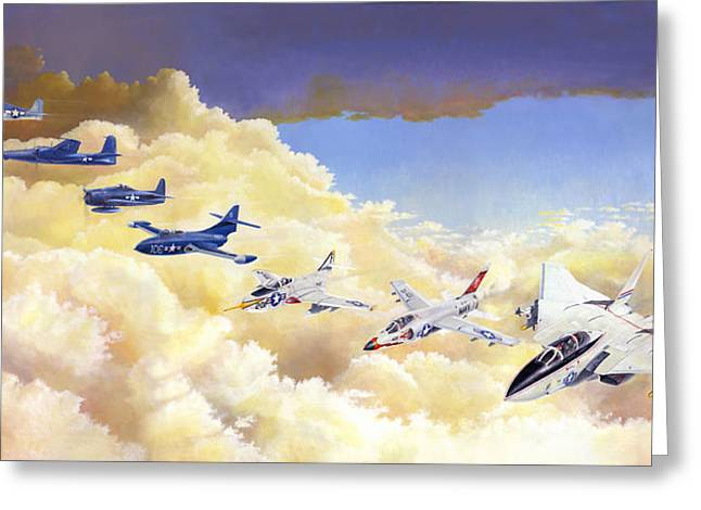Military Airplanes Paintings Greeting Cards - Grumman Cats Fantasy Formation Greeting Card by Douglas Castleman