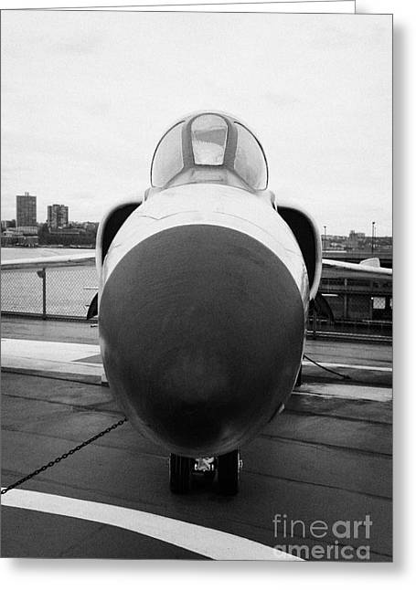 Manhaten Greeting Cards - Grumman F11F Tiger on display on the flight deck at the Intrepid Sea Air Space Museum new york Greeting Card by Joe Fox