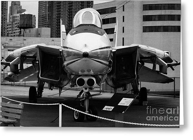 Manhaten Greeting Cards - Grumman F14 on the flight deck of the USS Intrepid at the Intrepid Sea Air Space Museum Greeting Card by Joe Fox