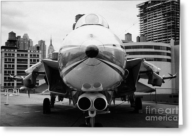 Manhaten Greeting Cards - Grumman F14 Tomcat on the flight deck of the USS Intrepid at the Intrepid new york Greeting Card by Joe Fox