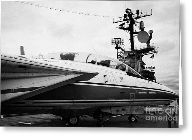 Manhatan Greeting Cards - Grumman F14 Tomcat on the flight deck of the USS Intrepid at the Intrepid Sea Air Space Museum Greeting Card by Joe Fox