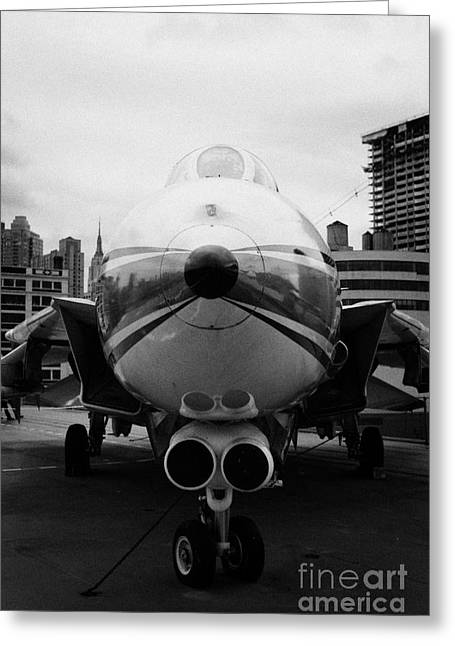 Manhatan Greeting Cards - Grumman F14 Tomcat on the flight deck of the USS Intrepid at the Intrepid Sea Air Space Museum usa Greeting Card by Joe Fox