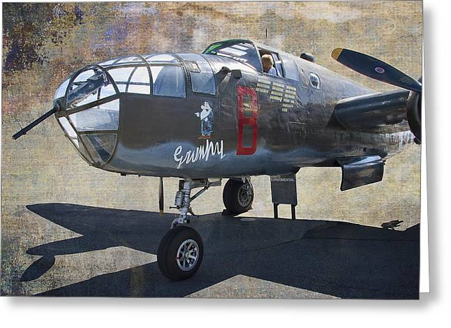 World War 2 Airmen Greeting Cards - Grumpy  B-25 D Mitchell Bomber  /  43-3318 Greeting Card by Daniel Hagerman