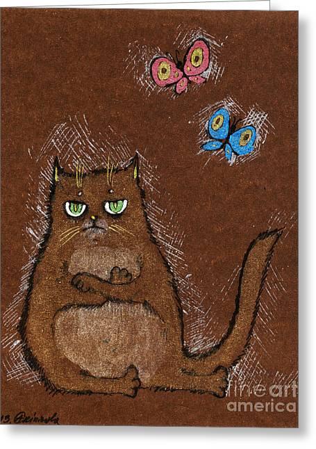 Cat Drawings Greeting Cards - Grumpy Cat Greeting Card by Angel  Tarantella