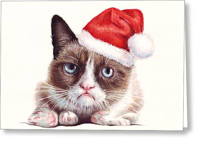 Xmas Greeting Cards - Grumpy Cat as Santa Greeting Card by Olga Shvartsur