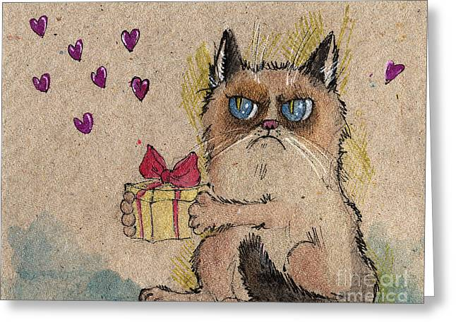 Pussy Greeting Cards - Grumpy Cat in love Greeting Card by Angel  Tarantella