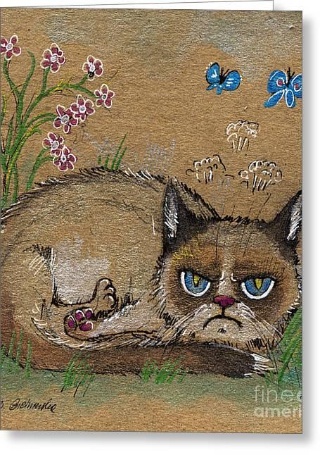 Kitty Drawings Greeting Cards - Grumpy cat loves spring Greeting Card by Angel  Tarantella