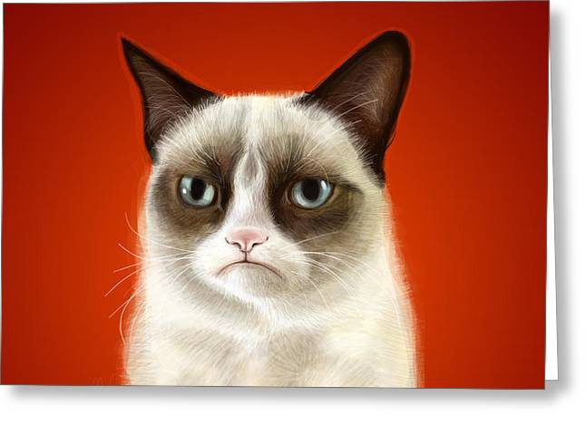 Grumpy Cat Greeting Card by Olga Shvartsur