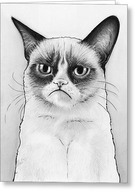 Funny Greeting Cards - Grumpy Cat Portrait Greeting Card by Olga Shvartsur