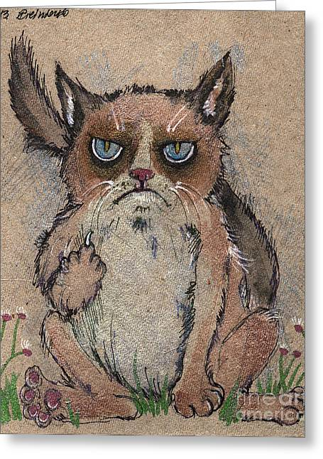 Pussy Drawings Greeting Cards - Grumpy cat says hello to you Greeting Card by Angel  Tarantella