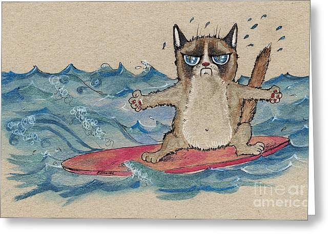 Cat Drawings Greeting Cards - Grumpy Cat Surfing Greeting Card by Angel  Tarantella