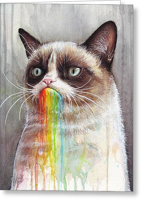 Cat Art Greeting Cards - Grumpy Cat Tastes the Rainbow Greeting Card by Olga Shvartsur