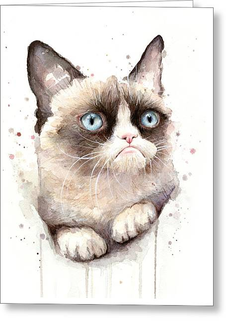 Internet Greeting Cards - Grumpy Cat Watercolor Greeting Card by Olga Shvartsur