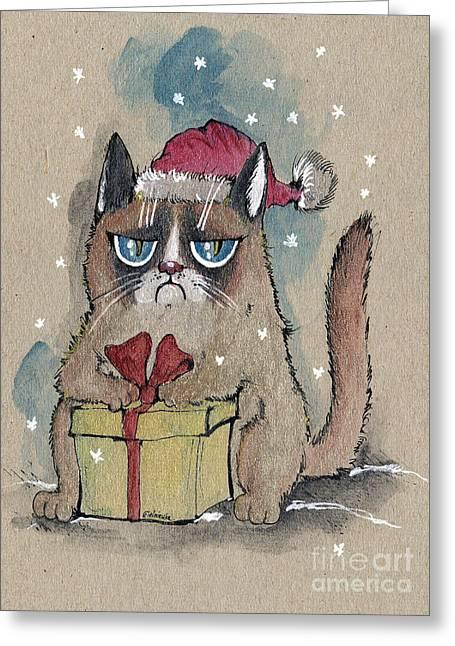 Ma.. Drawings Greeting Cards - Grumpy  Christmas Cat Greeting Card by Angel  Tarantella