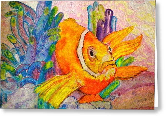 Reef Fish Mixed Media Greeting Cards - Grumpy Greeting Card by Debi Starr