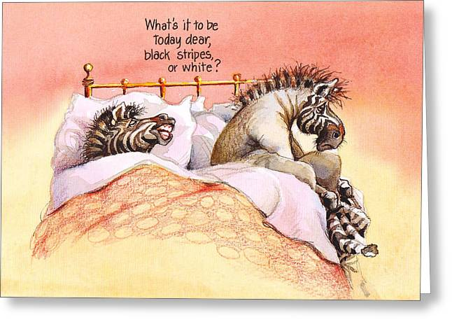 Grumpy In The Morning Greeting Card by Rose Rigden